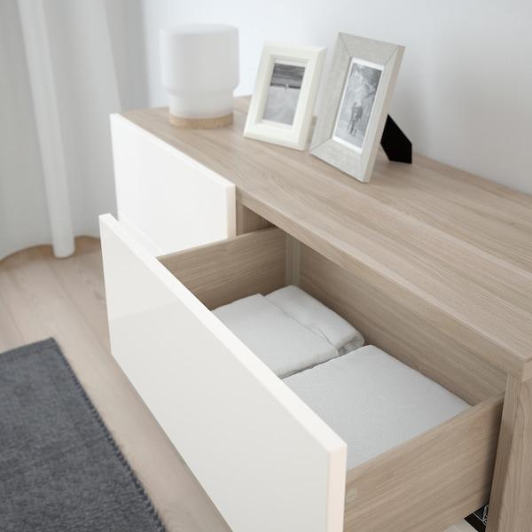 BESTÅ تشكيلة تخزين مع أبواب/ أدراج, مظهر الجوز مصبوغ رمادي/Selsviken/Stallarp أبيض/لامع, 120x40x74 سم