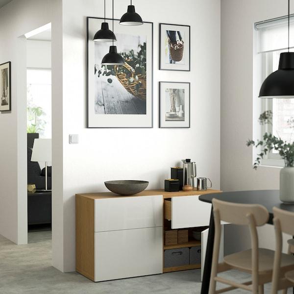 BESTÅ Storage combination w doors/drawers, oak effect/Selsviken high-gloss/white, 120x42x65 cm