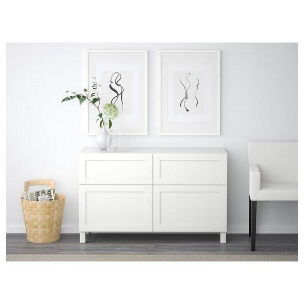BESTÅ Storage combination w doors/drawers, white/Hanviken white, 120x42x65 cm