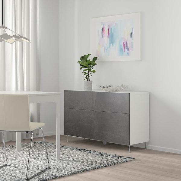BESTÅ Storage combination w doors/drawers, white Kallviken/Stallarp/dark grey concrete effect, 120x40x74 cm