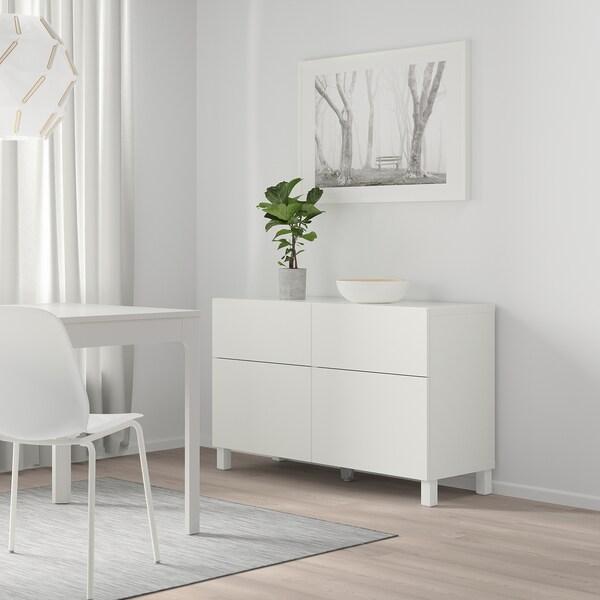 BESTÅ Storage combination w doors/drawers, white/Lappviken/Stubbarp white, 120x42x74 cm