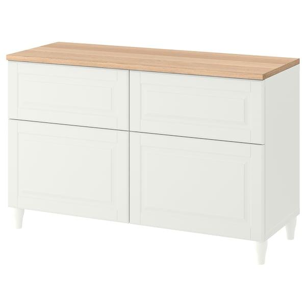 BESTÅ Storage combination w doors/drawers, white/Smeviken/Kabbarp white, 120x42x76 cm
