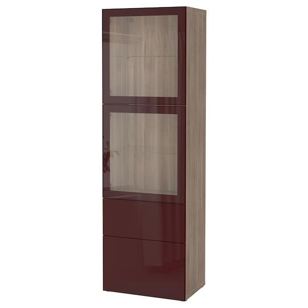 BESTÅ Storage combination w glass doors, grey stained walnut effect Selsviken/dark red-brown clear glass, 60x42x193 cm
