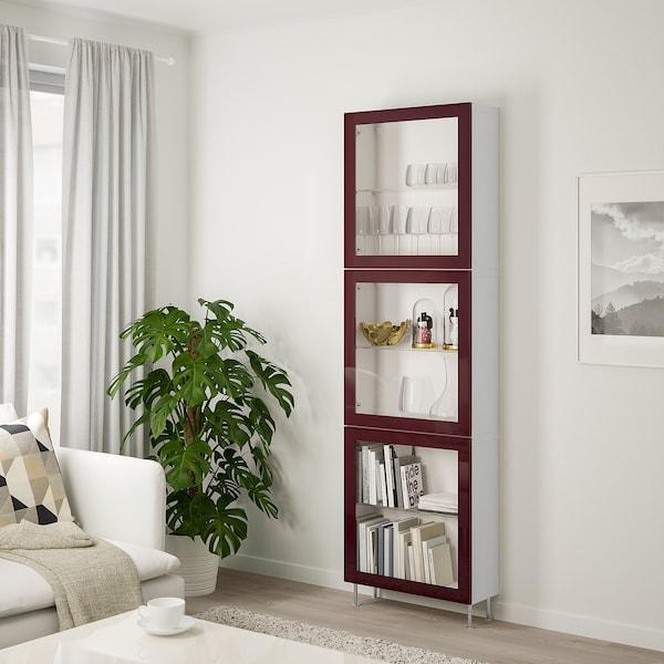 BESTÅ تشكيلة تخزين مع أبواب زجاجية, أبيض Glassvik/Stallarp/أحمر-بني غامق زجاج شفاف, 60x22x202 سم