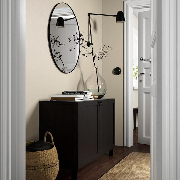 BESTÅ تشكيلة تخزين مع أبواب, أسود-بني/Hanviken/Stubbarp أسود-بني, 120x42x74 سم