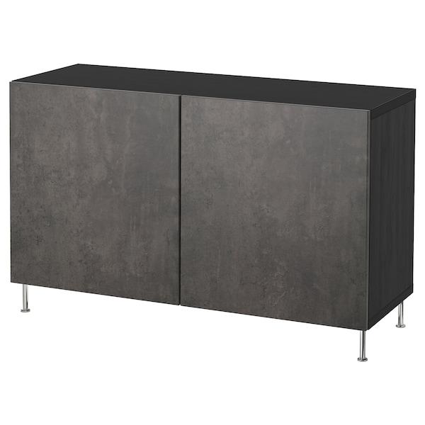 BESTÅ تشكيلة تخزين مع أبواب, أسود-بني Kallviken/Stallarp/رمادي غامق تأثيرات ماديّة., 120x40x74 سم
