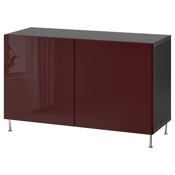 BESTÅ Storage combination with doors, black-brown Selsviken/Stallarp/high-gloss dark red-brown, 120x42x74 cm