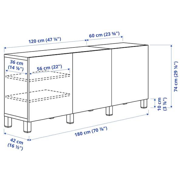 BESTÅ تشكيلة تخزين مع أبواب, مظهر الجوز مصبوغ رمادي/Lappviken أبيض, 180x40x74 سم