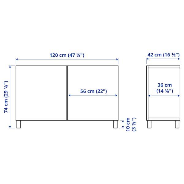 BESTÅ تشكيلة تخزين مع أبواب, مظهر الجوز مصبوغ رمادي/Selsviken أبيض/لامع, 120x42x74 سم