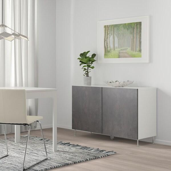 BESTÅ Storage combination with doors, white Kallviken/Stallarp/dark grey concrete effect, 120x40x74 cm
