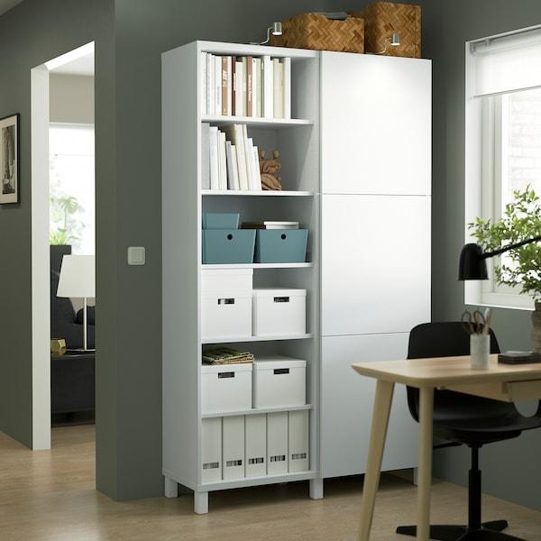 BESTÅ تشكيلة تخزين مع أبواب, أبيض/Lappviken/Stubbarp أبيض, 120x42x202 سم