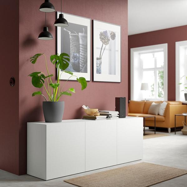 BESTÅ تشكيلة تخزين مع أبواب, أبيض/Lappviken أبيض, 180x42x65 سم