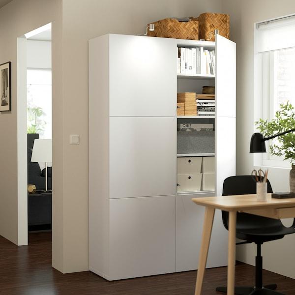 BESTÅ تشكيلة تخزين مع أبواب, أبيض/Lappviken أبيض, 120x42x193 سم