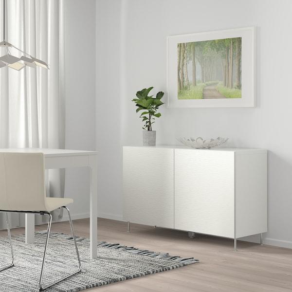 BESTÅ تشكيلة تخزين مع أبواب, أبيض/Laxviken/Stallarp أبيض, 120x40x74 سم
