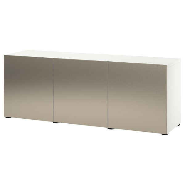 BESTÅ Storage combination with doors, white/Riksviken light bronze effect, 180x42x65 cm