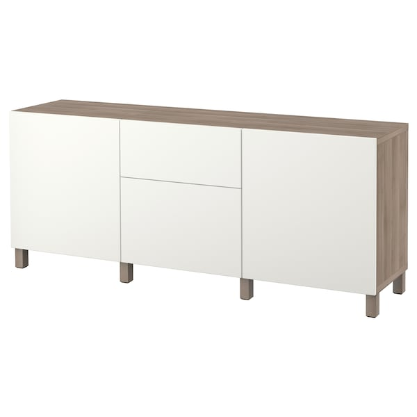 BESTÅ تشكيلة تخزين مع أدراج, مظهر الجوز مصبوغ رمادي/Lappviken أبيض, 180x40x74 سم