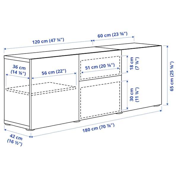 BESTÅ تشكيلة تخزين مع أدراج, مظهر الجوز مصبوغ رمادي/Selsviken أبيض/لامع, 180x42x65 سم