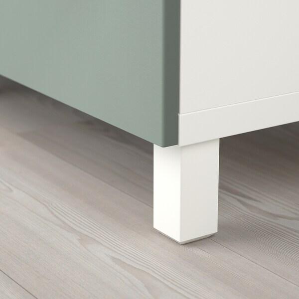 BESTÅ storage combination with drawers white/Notviken/Stubbarp grey-green 180 cm 42 cm 74 cm