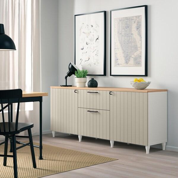 BESTÅ Storage combination with drawers, white/Sutterviken/Kabbarp grey-beige, 180x42x76 cm