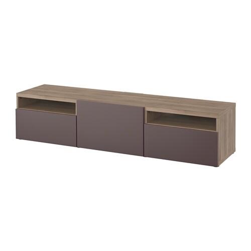 Best Tv Bench Grey Stained Walnut Effect Valviken Dark Brown Drawer Runner Push Open Ikea