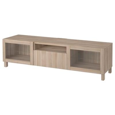 BESTÅ TV bench, grey stained walnut effect/Lappviken/Stubbarp grey stained walnut eff clear glass, 180x42x48 cm