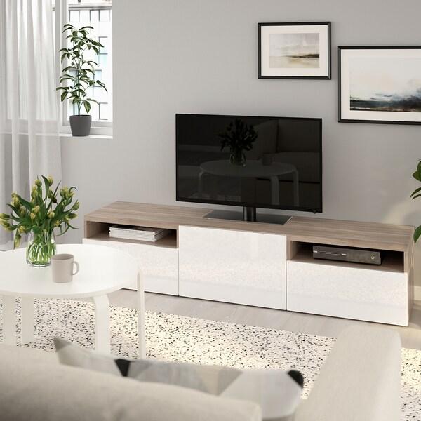 BESTÅ طاولة تلفزيون, مظهر الجوز مصبوغ رمادي/Selsviken أبيض/لامع, 180x42x39 سم