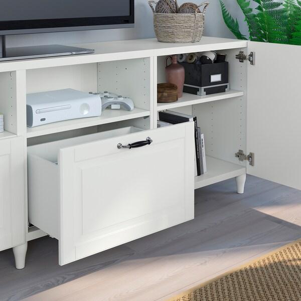 BESTÅ منصة تلفزيون مع أبواب وأدراج, أبيض/Smeviken/Kabbarp أبيض, 240x42x74 سم