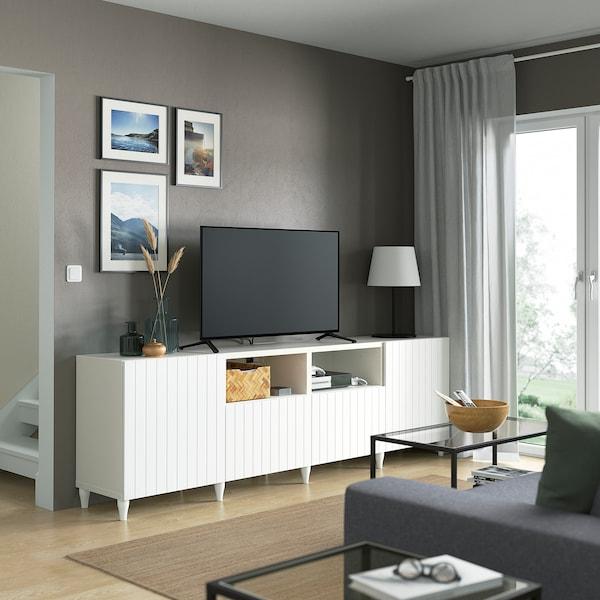 BESTÅ منصة تلفزيون مع أبواب وأدراج, أبيض/Sutterviken/Kabbarp أبيض, 240x42x74 سم