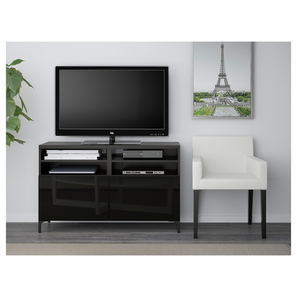 BESTÅ TV bench with doors black-brown/Selsviken/Nannarp high-gloss/black 120 cm 42 cm 74 cm 50 kg