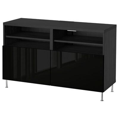 BESTÅ طاولة تلفزيون مع أبواب, أسود-بني/Selsviken/Stallarp أسود/لامع, 120x42x74 سم