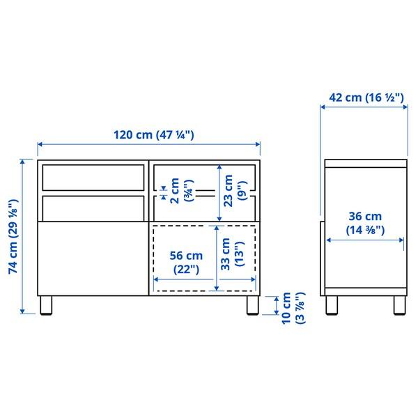 BESTÅ طاولة تلفزيون مع أبواب, مظهر الجوز مصبوغ رمادي/Lappviken/Stubbarp أبيض, 120x42x74 سم