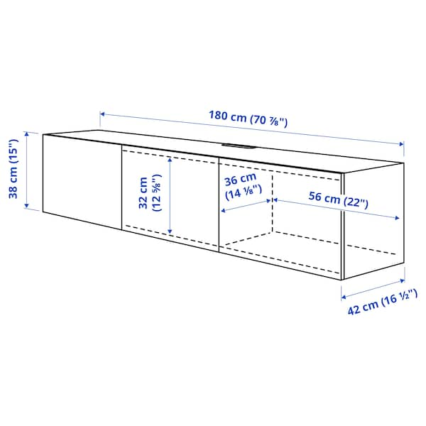 BESTÅ TV bench with doors, grey stained walnut effect/Selsviken high-gloss/white, 180x42x38 cm