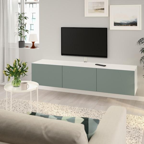 BESTÅ TV bench with doors, white/Notviken grey-green, 180x42x38 cm