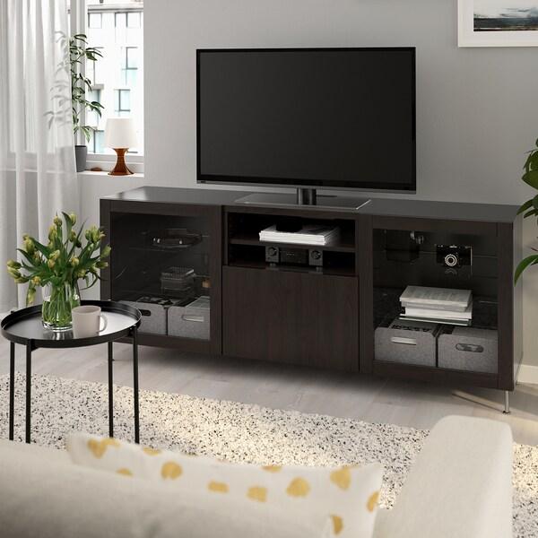 BESTÅ TV bench with drawers, black-brown/Lappviken/Stallarp black-brown clear glass, 180x42x74 cm