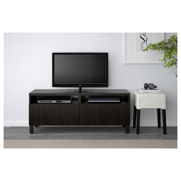 BESTÅ TV bench with drawers, black-brown/Lappviken/Stubbarp black-brown, 120x42x48 cm