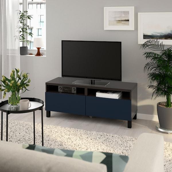 BESTÅ TV bench with drawers, black-brown/Notviken/Stubbarp blue, 120x42x48 cm