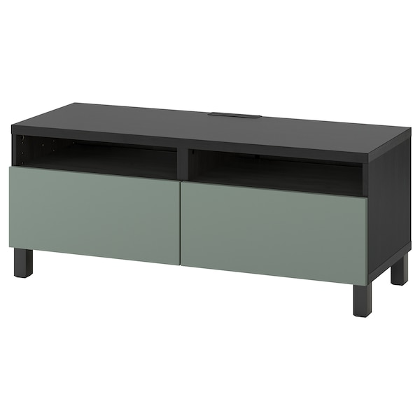 BESTÅ TV bench with drawers, black-brown/Notviken/Stubbarp grey-green, 120x42x48 cm