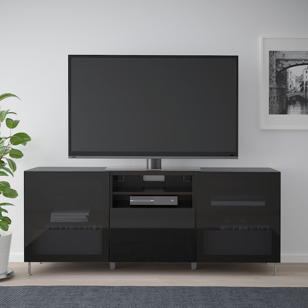 BESTÅ TV bench with drawers, black-brown/Selsviken/Stallarp high-gloss/black smoked glass, 180x42x74 cm