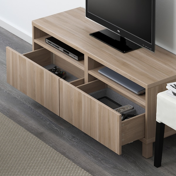 BESTÅ TV bench with drawers, grey stained walnut effect/Lappviken/Stubbarp grey stained walnut effect, 120x42x48 cm