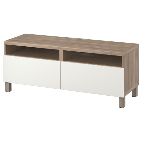 BESTÅ TV bench with drawers, grey stained walnut effect/Lappviken white, 120x42x48 cm
