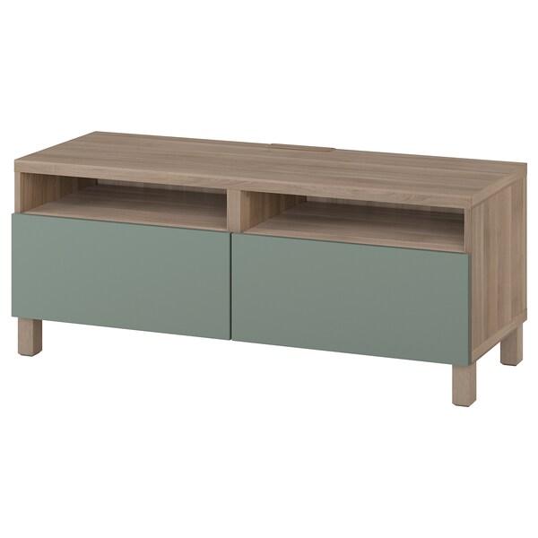 BESTÅ TV bench with drawers, grey stained walnut effect/Notviken/Stubbarp grey-green, 120x42x48 cm