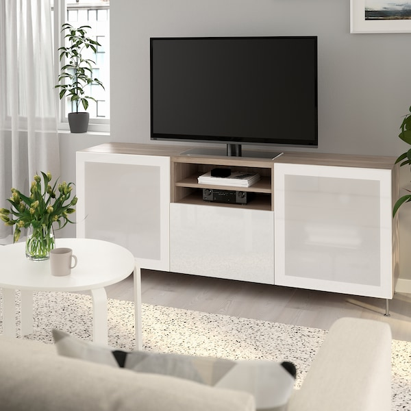 BESTÅ TV bench with drawers, grey stained walnut effect/Selsviken/Stallarp high-gloss/white frosted glass, 180x42x74 cm
