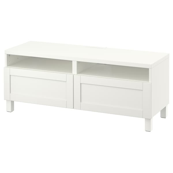 BESTÅ TV bench with drawers, white/Hanviken/Stubbarp white, 120x42x48 cm