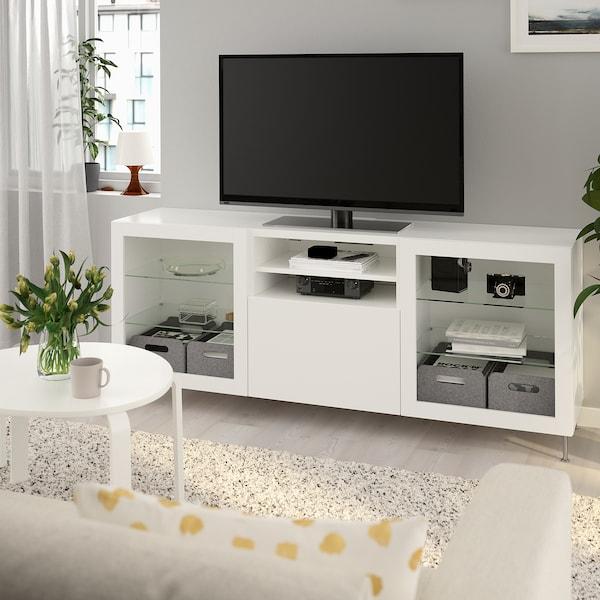 BESTÅ TV bench with drawers, white/Lappviken/Stallarp white clear glass, 180x42x74 cm