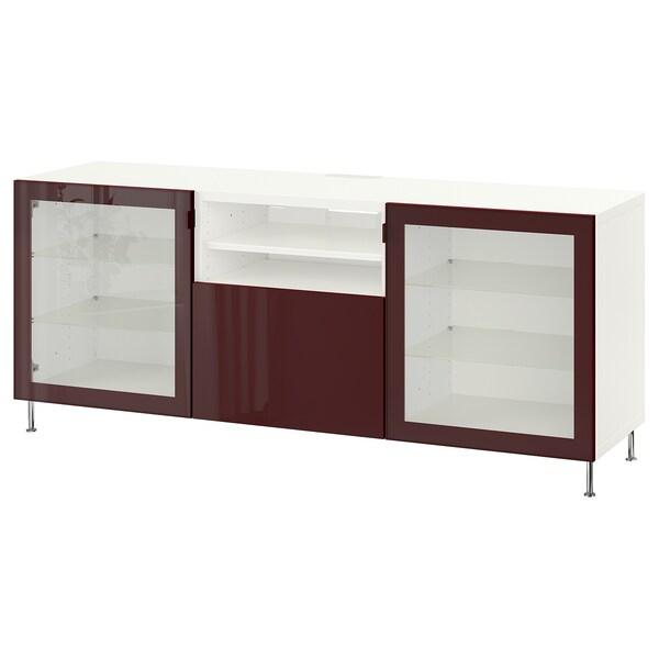 BESTÅ TV bench with drawers, white Selsviken/Stallarp/high-gloss dark red-brown, 180x42x74 cm