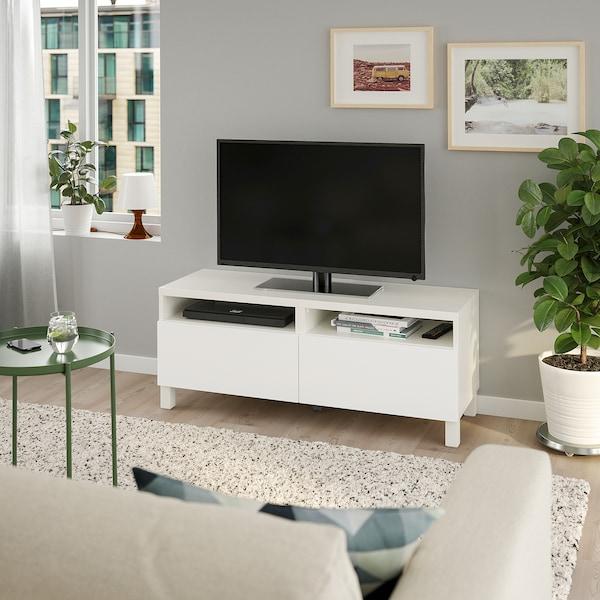 BESTÅ TV bench with drawers white/Lappviken/Stubbarp white 120 cm 42 cm 48 cm 50 kg
