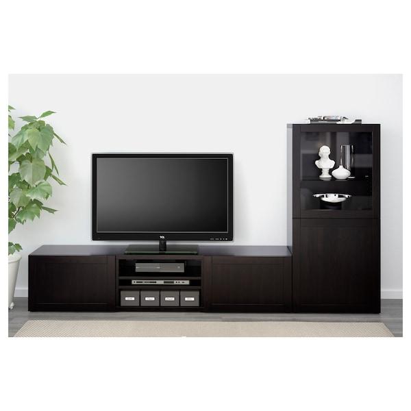 BESTÅ تشكيلة تخزين تلفزيون/أبواب زجاجية, أسود-بني/Hanviken أسود-بني زجاج شفاف, 240x42x129 سم
