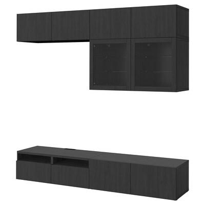BESTÅ تشكيلة تخزين تلفزيون/أبواب زجاجية, أسود-بني/Lappviken أسود-بني زجاج شفاف, 240x42x231 سم