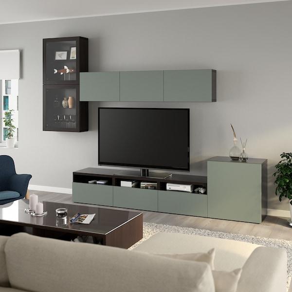 BESTÅ TV storage combination/glass doors, black-brown/Notviken grey-green clear glass, 300x42x211 cm