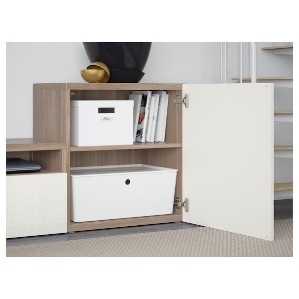 BESTÅ TV storage combination/glass doors, grey stained walnut effect/Selsviken high-gloss/white frosted glass, 300x42x211 cm